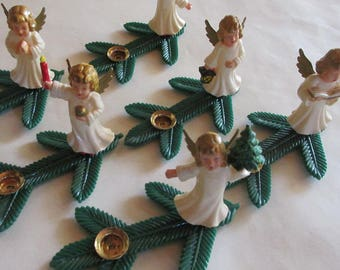 6 Vintage Christmas Germany Hard Plastic Angels Pine Sprig Candleholders Set Of Six