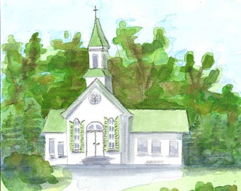 Wedding Venue Custom Watercolor Rendering