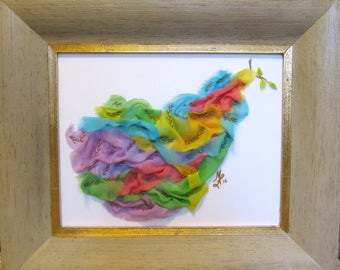 Rainbow Dove 20x17, open framing, no glass