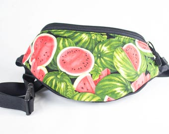 Fanny pack Watermelon fabric - Cute  - Hip Waist Bag - 2 Zippers