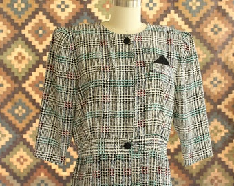 vintage 1980s business womans special dress . 80s houndstooth secretary dress with pleated skirt . womens size large XL APPROX