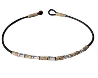 Leather, hemp, metal beads surfer style choker/necklace