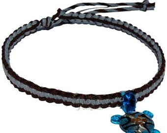 Chocolate and sky blue flat wide hemp necklace with sky blue glass turtle
