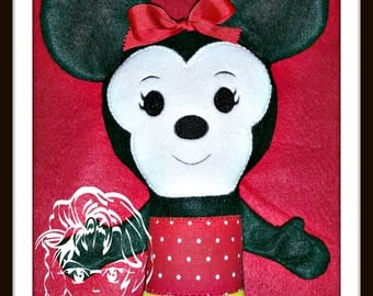 Ms MoUSE Girly Lil Bit Doll 3D Plush Softie Toy ~ In the Hoop ~ Downloadable DiGiTaL Machine Embroidery Design by Carrie