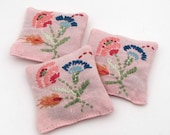 3 Dried Lavender Sachets - Pink - Floral - Flowers - Embroidered Sachets - Stocking Stuffers - Vintage Linens - Embroidery - Party Favors