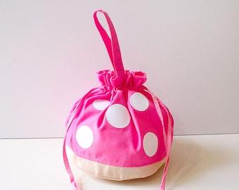 Pink Drawstring Pouch, Mushroom Bag, Toadstool Bag, Mushroom Purse, Drawstring Bag Women, Drawstring Bag Kids, Drawstring Purse,Twinning Bag