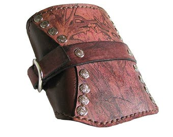 Mahogany Leather Travel Card Wallet Wristband Cuff - MADE To Order
