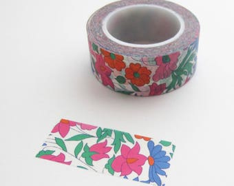 Floral Washi Tape 3/4 Inch Wide | Destash washi tape with flower print in blue and pink and orange.