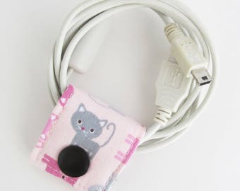 Grey Kitty Cord Keeper | Cord organizer or small cords like USB cables for charging phones and or cameras, keyboard and mouse cords, etc.