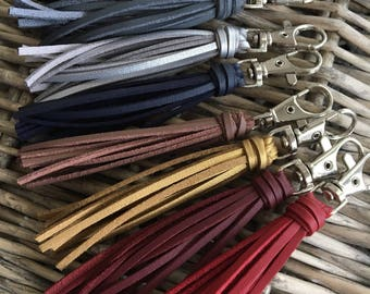 "Leather Bag Charm, Handbag Tassel Charm, Tassel Keychain, Zipper Pull, Purse Charm - 3.5"" Small Faux Leather Tassel on Clip - (ST116)"