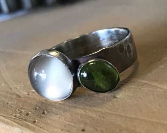 Sterling Silver, Moonstone and Vesuvianite Ring Size 7