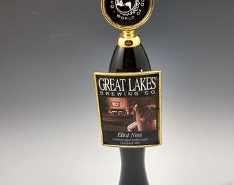 Bar used beer tap made into a hat rack or coat rack.  Great lakes Eliot Ness beer,  Cleveland Ohio Made.  Reclaimed