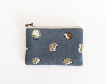 mini zipper pouch  - round hedgehog in grey
