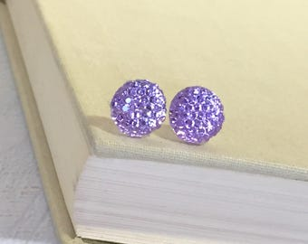 Little Light Purple Lavender Sparkling Bumpy Druzy Round Circle Stud Earrings with Surgical Steel Posts