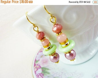 SALE Pastel Earrings, Quirky Earrings, Lovely Pink Gilded Roses with Lavender Mint, Pretty Assemblage Jewelry
