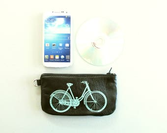 Bicycle Phone Case Pencil Case Small Electronics Case Black Recycled Leather