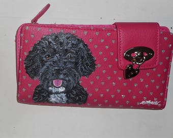 Portuguese Water Dog Custom Painted Ladies Leather Wallet