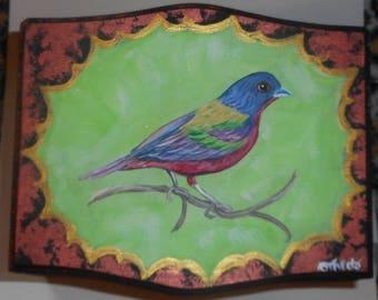 Painted Bunting Bird  Hand Painted Wood Trinket Jewelry Box OOAK