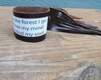 Reclaimed Leather Fringe Cuff | Into the Forest I go | Boho Hippie | One of a kind | Brown Leather Cuff Bracelet | Jewelry Under 30