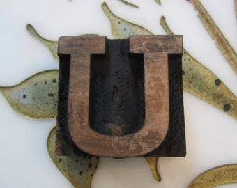 Letter U Antique Letterpress Wood Type Printers Block Wide