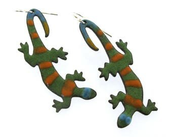 Lizard Earrings, whimsical and colorful enameled earrings by Kathryn Riechert