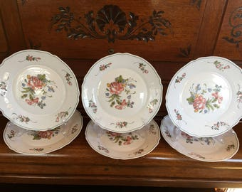 Set of 6 Vintage Arcopal France Milk Glass Dinner Plates Provincial Pattern Pink and Blue Flowers 10 Inch Plates Matching Set Arc