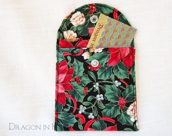 """Poinsettia Gift Card Pouch - 4"""" Small Snap Case, black red green floral, cotton Christmas fabric coin purse, holiday pocket, flat pouch"""