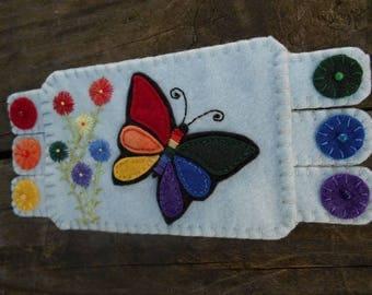Rainbow Butterfly, Rainbow Coaster, Butterfly Art, Embroidery Art, Fiber art, Butterfly Mug Rug, Flower Coffee Coaster
