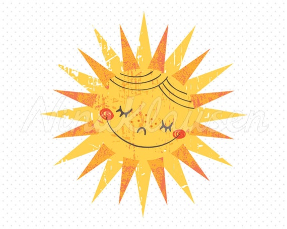 Retro Sun Clipart for Commercial Use  - 0001