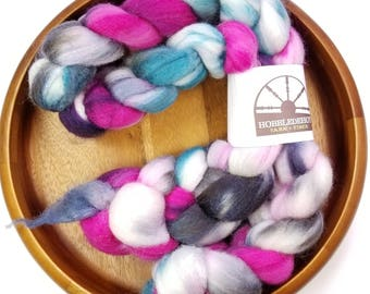 Mermaid Scales - hand-dyed Polwarth wool and silk (4 oz.) combed top roving