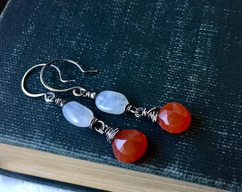 Tropical orange Carnelian, white Moonstone and sterling silver earrings. Handmade artisan wire wrapped Summer style by Anne More Jewelry