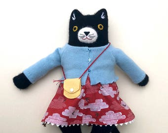 Kitty Girl with purse Black and White wool doll plush