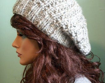 SALE Pale Gray Tweed Hat Beret, Slouchy Knit Tam Beanie