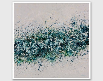 """Abstract PRINT of Painting """"Petales Verts"""" by Lisa Carney - Large wall art, Giclee Print, Modern painting, Blue, Green, Turquoise, Gray"""