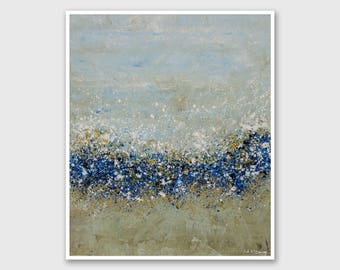 """Abstract PRINT of Painting """"Bees Bliss"""" by Lisa Carney - Large wall art, Floral art print, Giclee Print, Modern painting, Blue, Taupe, White"""