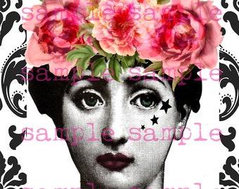 SALE Fornasetti Art instant Digital Download Collage Sheet Fornasetti Lina Cavalieri Portrait Printable Vintage Face Gypsy Soul Boho