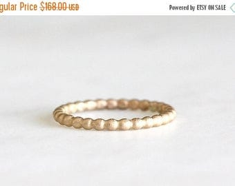 ON SALE 14k gold beaded band, eco friendly, wedding band, everyday ring, solid recycled gold, handmade, wedding ring, recycled wedding ring
