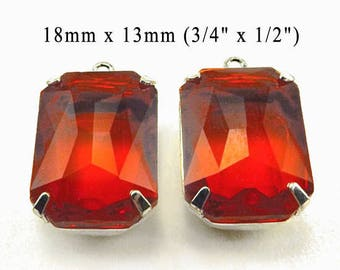 Red Glass Beads - 18x13 Octagon - Sheer Red Octagon Jewels - 18mm x 13mm Rhinestones - Glass Gems - Jewelry Supply - One Pair