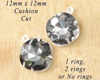 Black Diamond Glass Beads - 12x12mm Cushion Cut Octagons - Silver or Brass Settings - Rhinestone Earrings or Pendants - One Pair