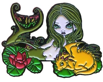 Mermaid with a Golden Dragon Collectible Enamel Pin by Jasmine Becket-Griffith Art lapel pin button mermaids dragons pond fairy