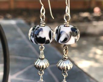 Handmade Lampwork Earrings, White and Black Swirl Long Earrings