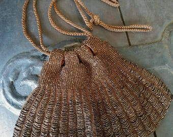 Vintage 1940s Purse 40s Evening Bag Beaded Drawstring Copper Czech Beads