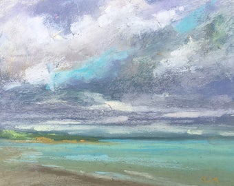 IRELAND Seashore Sea plein air  Landscape Original Pastel Painting Karen Margulis 5x7
