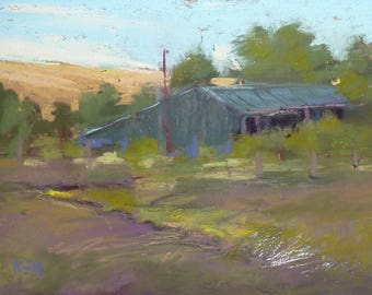 Plein Air Landscape from FRANCE Barn Original Pastel Painting 5x7