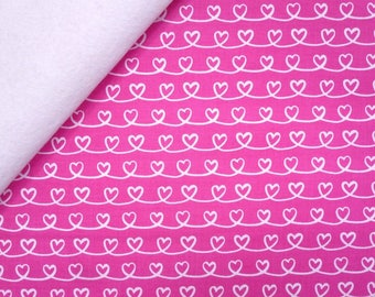 Forever Love fabric felt  :  Pink Hearts on White