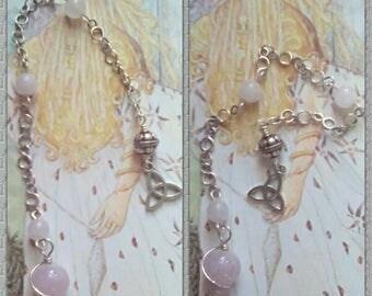 Rose Quartz Pendulum, Silver Pendulum, Truth Pendulum, Gemstone Pendulum, Intuition Pendulum, Dowsing Pendulum, Healing Pendulum