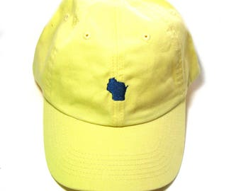 Low Profile Full Coverage Dad Hat - Little Wisconsin Navy Blue on Yellow