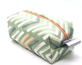 Makeup Bag Cosmetic Case - Sage Green and Blush Pink Painted V