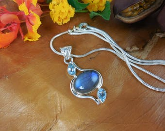 Labradorite and blue topaz sterling silver pendant/necklace