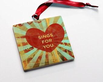 Wood Valentine's Gift for Him- Valentine Ornaments Wood Sings for You Valentine Gift Tag Wood Valentine Keepsake- Valentine Card Alternative